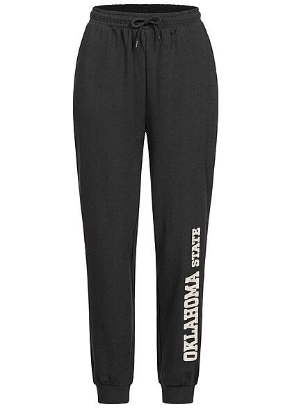 ONLY Damen Jogginghose Sweat Pants 2-Pockets Tunnelzug Oklahoma Print schwarz