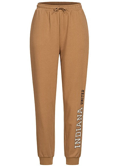 ONLY Damen Jogginghose Sweat Pants 2-Pockets Tunnelzug Indiana Print toasted coconut