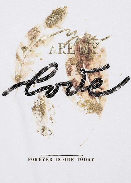 Seventyseven Lifestyle Damen T-Shirt You Are My Love Feder Print Paillettenbesatz weiss