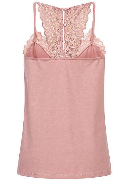 Seventyseven Lifestyle Damen V-Neck Top mit Spitzenbesatz Knopfleiste woodrose rosa