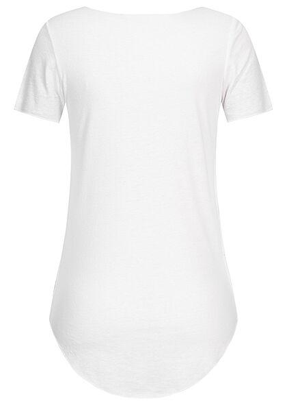 Seventyseven Lifestyle Damen Nappy Yarn T-Shirt Vokuhila weiss