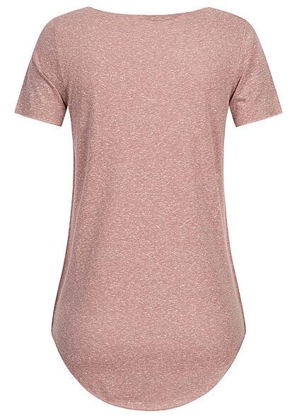 Seventyseven Lifestyle Damen Nappy Yarn T-Shirt Vokuhila woodrose rosa