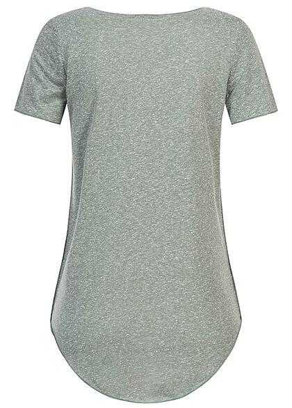 Seventyseven Lifestyle Damen Nappy Yarn T-Shirt Vokuhila chinois grün