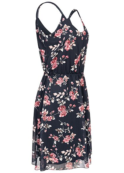Styleboom Fashion Damen V-Neck Mini Kleid Rosen Print Taillengummizug navy blau mc