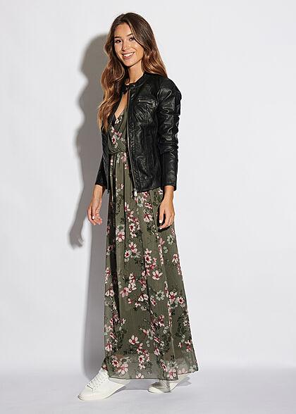Styleboom Fashion Damen V-Neck Maxi Kleid Wickeloptik Blumen Print khaki grün