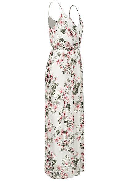 Styleboom Fashion Damen V-Neck Maxi Kleid Wickeloptik Blumen Print weiss