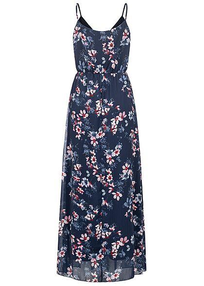 Styleboom Fashion Damen V-Neck Maxi Kleid Wickeloptik Blumen Print navy blau