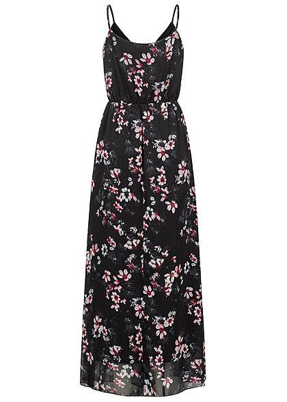 Styleboom Fashion Damen V-Neck Maxi Kleid Wickeloptik Blumen Print schwarz