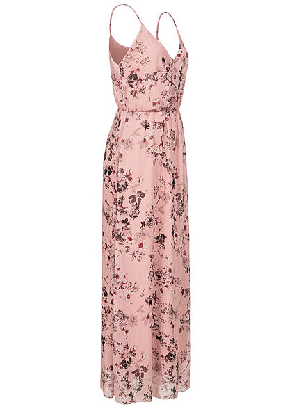 Styleboom Fashion Damen V-Neck Maxi Kleid Wickeloptik Blumen Print rosa