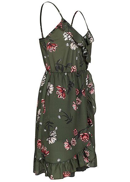 Styleboom Fashion Damen V-Neck Volant Kleid Blumen Print Wickeloptik khaki grün