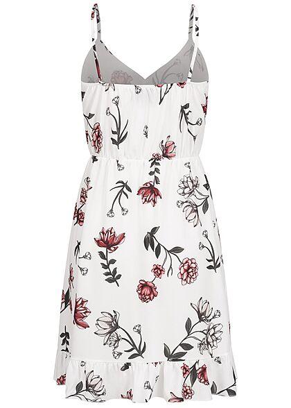 Styleboom Fashion Damen V-Neck Volant Kleid Blumen Print Wickeloptik weiss