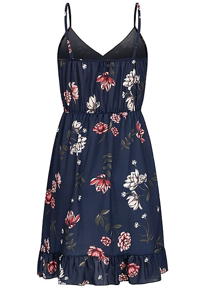 Styleboom Fashion Damen V-Neck Volant Kleid Blumen Print Wickeloptik navy blau
