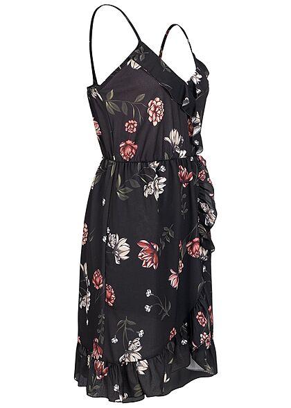 Styleboom Fashion Damen V-Neck Volant Kleid Blumen Print Wickeloptik schwarz