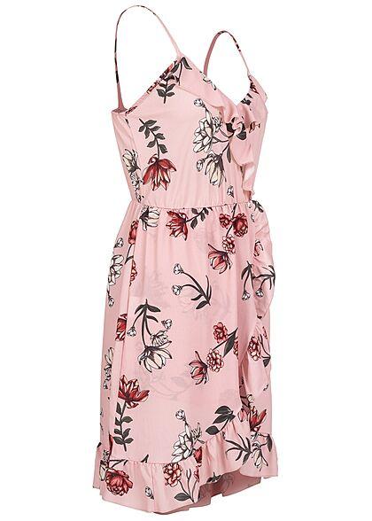Styleboom Fashion Damen V-Neck Volant Kleid Blumen Print Wickeloptik rosa