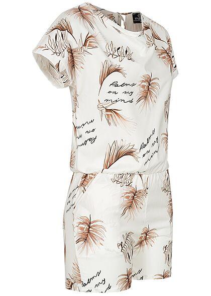 Styleboom Fashion Damen Playsuit mit Palmen Print 2-Pockets weiss