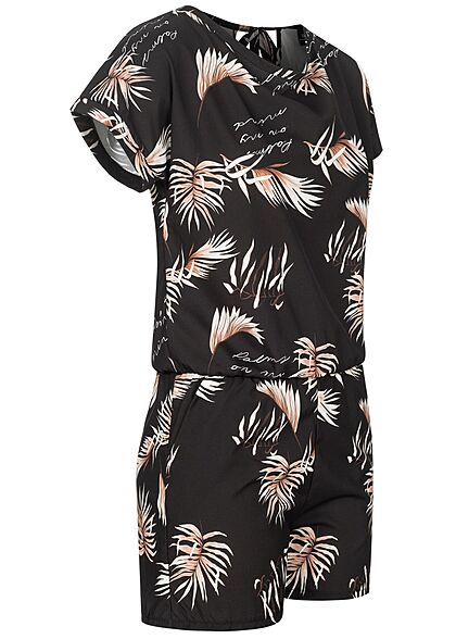 Styleboom Fashion Damen Playsuit mit Palmen Print 2-Pockets schwarz