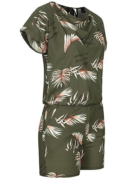 Styleboom Fashion Damen Playsuit mit Palmen Print 2-Pockets khaki grün