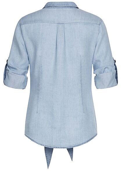 Seventyseven Lifestyle Damen Turn-Up V-Neck Denim Bluse Bindedetail Knopfleiste blau