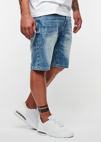 Seventyseven Lifestyle Herren Bermuda Jeans Shorts Destroy Look 5-Pockets hell blau denim