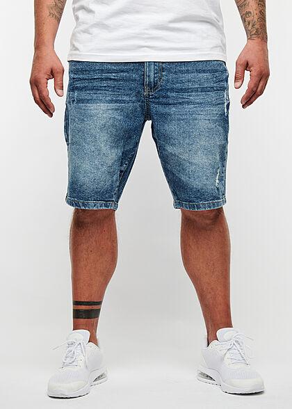 Seventyseven Lifestyle Herren Bermuda Jeans Shorts Destroy Look 5-Pockets mid blau denim