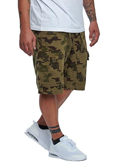 Lowrider Herren Cargo Bermuda Shorts mit Zunnelzug 6-Pockets oliv grün camouflage