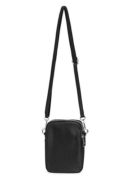 Styleboom Fashion Damen kleine Umhängehandtasche mit 3 Zip-Fächern schwarz