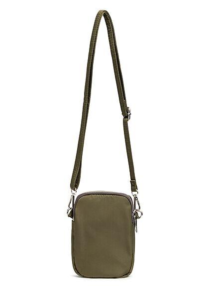 Styleboom Fashion Damen kleine Umhängehandtasche mit 3 Zip-Fächern khaki grün