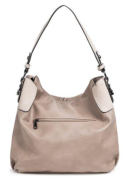 Styleboom Fashion Damen Kunstleder Handtasche mit viel Stauraum hellgrau