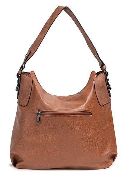 Styleboom Fashion Damen Kunstleder Handtasche mit viel Stauraum cognac braun