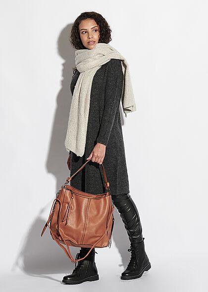 Styleboom Fashion Damen Kunstleder Strukturhandtasche mit viel Stauraum camel braun