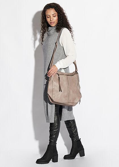 Styleboom Fashion Damen Kunstleder Strukturhandtasche mit viel Stauraum taupe beige