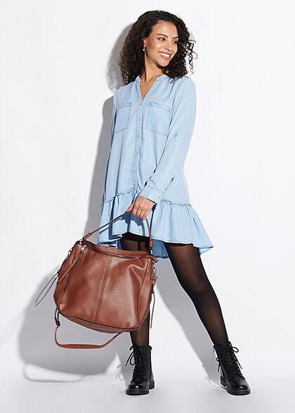 Styleboom Fashion Damen Kunstleder Strukturhandtasche mit viel Stauraum cognac braun