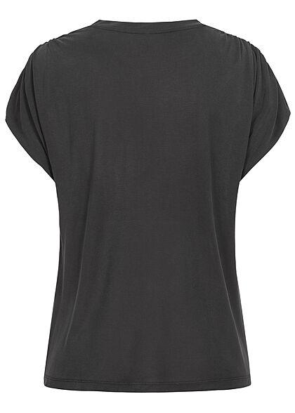 ONLY Damen Modal TENCEL Shirt mit Raffdetails schwarz