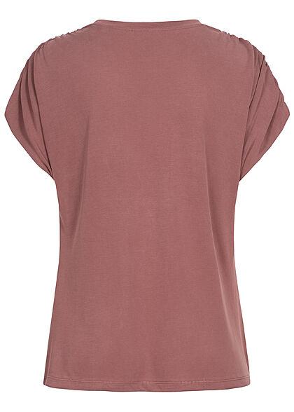 ONLY Damen Modal TENCEL Shirt mit Raffdetails rose braun