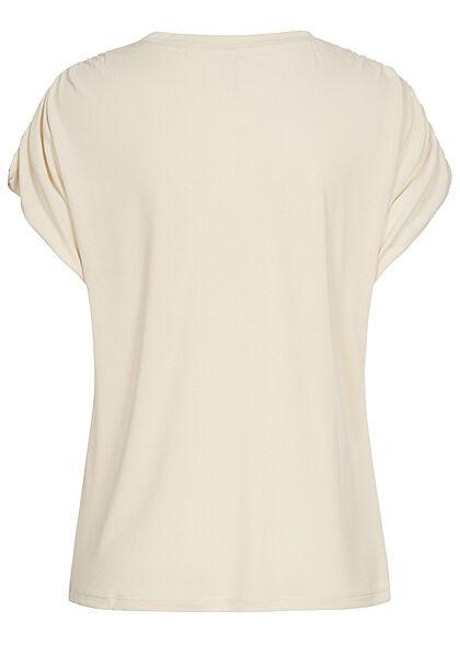 ONLY Damen Modal TENCEL Shirt mit Raffdetails whisper weiss