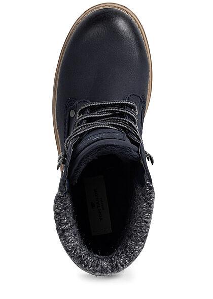 Tom Tailor Damen Schuh Worker Boots Stiefelette Kunstleder zum schnüren navy blau