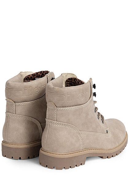 Tom Tailor Damen Schuh Worker Boots Stiefelette Kunstleder zum schnüren off weiss beige