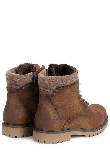 Tom Tailor Damen Schuh Worker Boots Stiefelette Kunstleder Zipper seitl. whisky braun