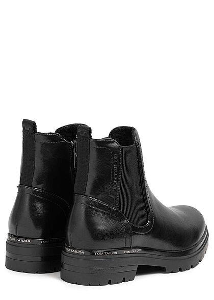Tom Tailor Damen Schuh Worker Boots Kunstleder glänzend mit Zipper schwarz