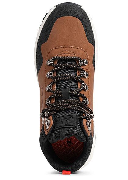 Champion Herren Schuh Low Cut Sneaker Materialmix schwarz braun weiss