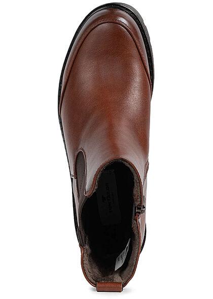 Tom Tailor Damen Schuh Worker Boots Kunstleder Halbstiefel Zipper cognac braun