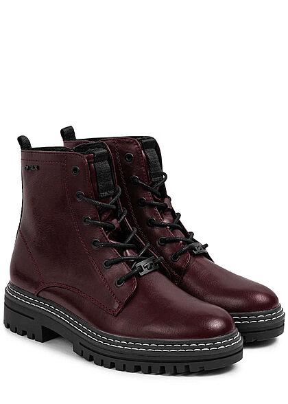 Tom Tailor Damen Schuh Worker Boots Kunstleder Halbstiefel Zipper seitl. bordeaux rot