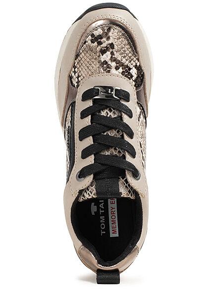 Tom Tailor Damen Schuh Sneaker Kunstleder Snake Print beige