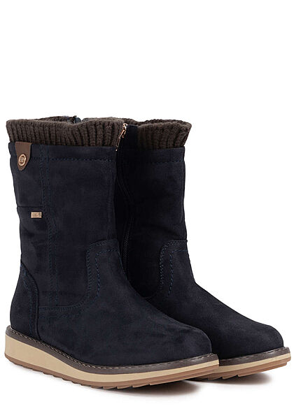 Tom Tailor Damen Schuh Winter Boots Halbstiefel Velours Optik Zipper navy blau