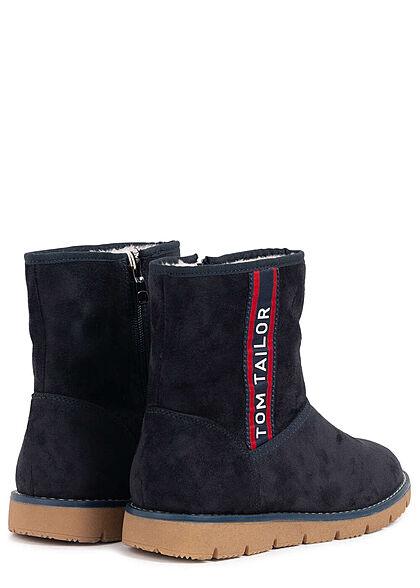 Tom Tailor Damen Schuh Winter Boots mit Zipper Velours Optik navy blau