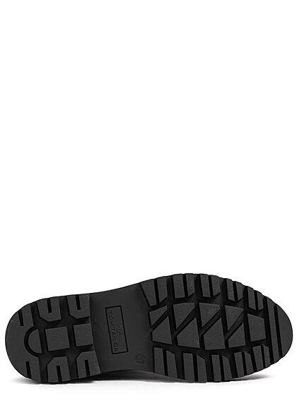 Tom Tailor Damen Schuh Winter Boots Velour-Kunstleder Teddyfell innen schwarz
