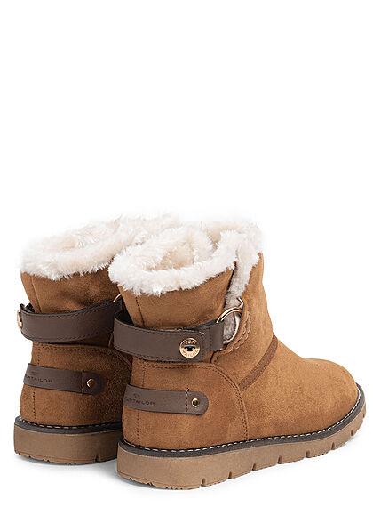 Tom Tailor Damen Schuh Winter Boots Velour-Kunstleder Teddyfell innen camel braun