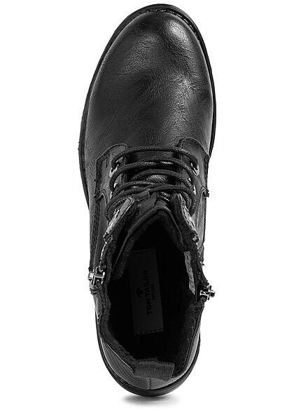 Tom Tailor Damen Schuh Boots Kunstleder Halbstiefel Zipper zum schnüren schwarz