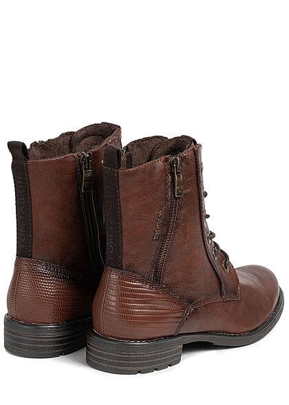 Tom Tailor Damen Schuh Boots Kunstleder Halbstiefel Zipper zum schnüren cognac