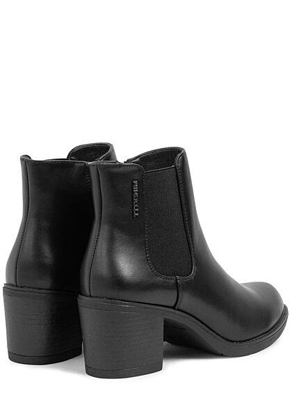 Tom Tailor Damen Schuh Kunstleder Stiefelette 6,5cm Blockabsatz Zipper schwarz